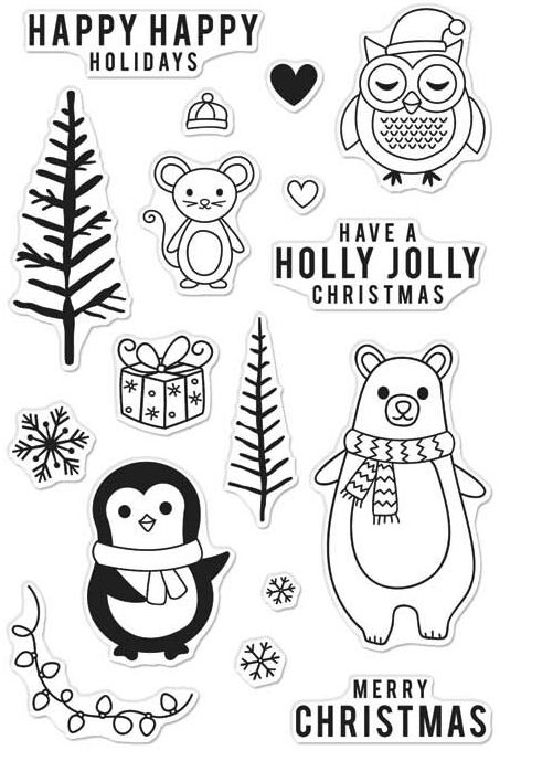Hero Arts Clear Stamps HOLIDAY ANIMALS CM103 zoom image