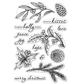 Hero Arts Clear Stamps HAPPY HOLLY DAYS CL998