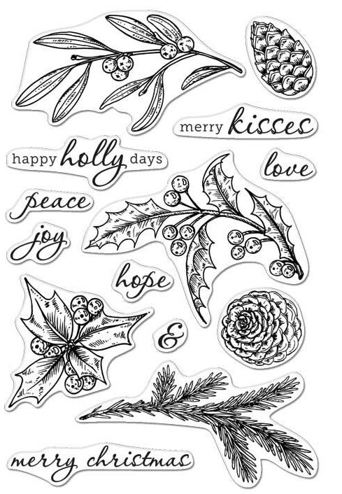 Hero Arts Clear Stamps HAPPY HOLLY DAYS CL998 zoom image