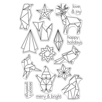 Hero Arts Clear Stamps ORIGAMI HAPPY HOLIDAYS CL988