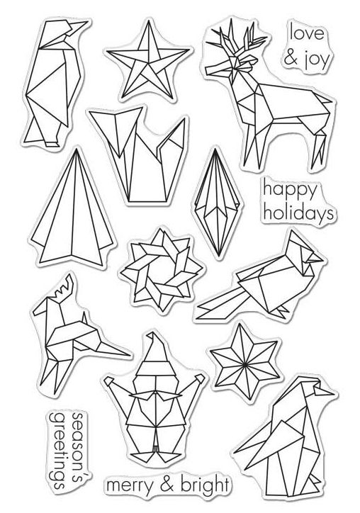 Hero Arts Clear Stamps ORIGAMI HAPPY HOLIDAYS CL988 zoom image