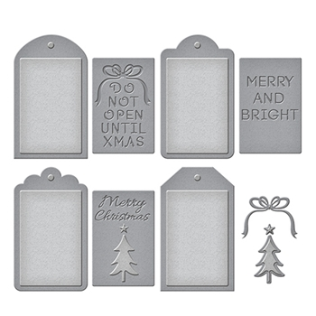 S5-265 Spellbinders Stacey Caron Holiday CHRISTMAS TAG SET Etched Dies