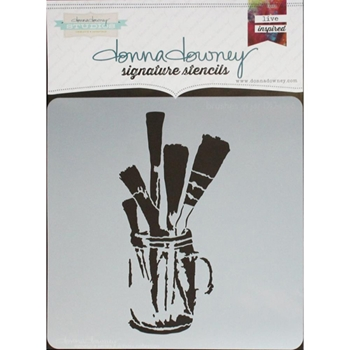 Donna Downey BRUSHES IN JAR Signature Stencil DD096