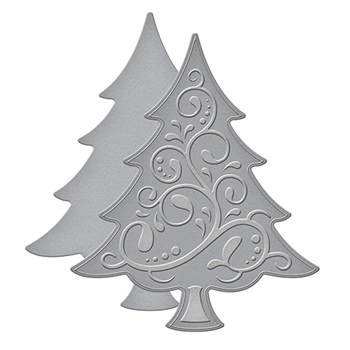 S2-236 Spellbinders D-Lites Holiday FANCY TREE Etched Dies