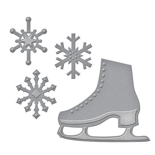 S2-235 Spellbinders D-Lites Holiday FLAKES 'N SKATES Etched Dies Preview Image