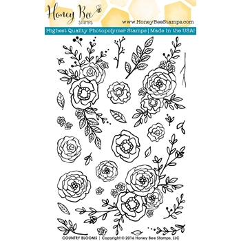 Honey Bee COUNTRY BLOOMS Clear Stamp Set HBST26