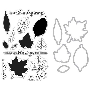 Hero Arts GRATEFUL LEAVES CLEAR STAMP & DIE COMBO SB135
