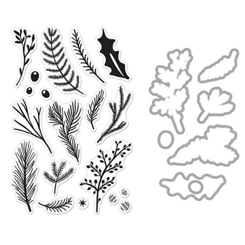 Hero Arts PINE BRANCHES CLEAR STAMP & DIE COMBO SB133
