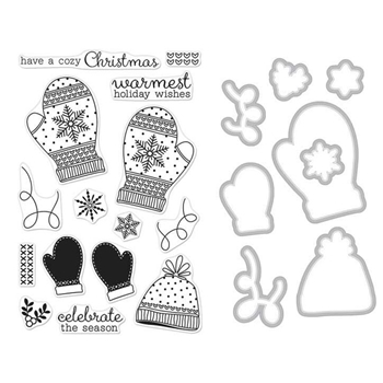 Hero Arts HOLIDAY MITTENS CLEAR STAMP & DIE COMBO SB132