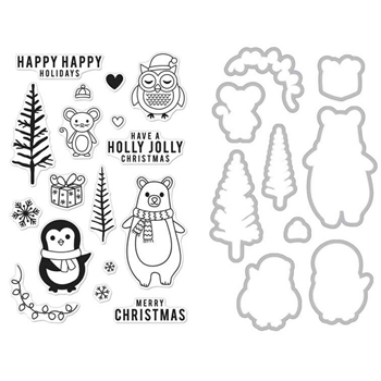 Hero Arts HOLIDAY ANIMALS CLEAR STAMP & DIE COMBO SB131