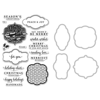 Hero Arts HOLIDAY TAGS CLEAR STAMP & DIE COMBO SB127