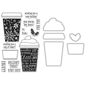 Hero Arts COFFEE CUP TAGS CLEAR STAMP & DIE COMBO SB126