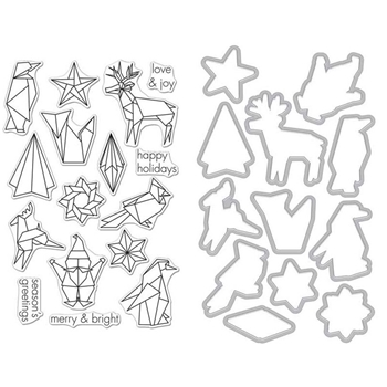 Hero Arts ORIGAMI HOLIDAY CLEAR STAMP & DIE COMBO SB123