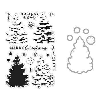 Hero Arts CHRISTMAS TREE CLEAR STAMP & DIE COMBO SB122
