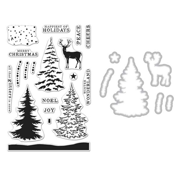 Hero Arts SNOWY TREE CLEAR STAMP & DIE COMBO SB121