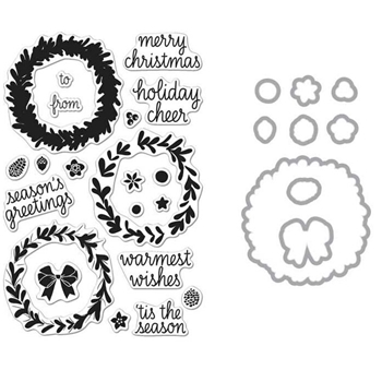 Hero Arts WREATH CLEAR STAMP & DIE COMBO SB120
