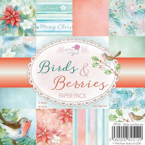 Wild Rose Studio BIRDS AND BERRIES 6x6 Paper Pack PP051 zoom image