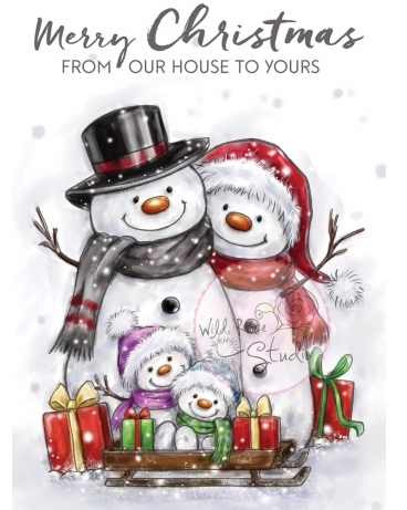 Wild Rose Studio SNOWMAN FAMILY Clear Stamp Set CL496 zoom image