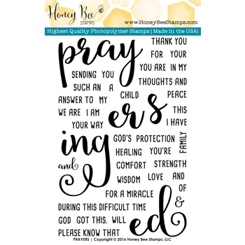 Honey Bee PRAYERS Clear Stamp Set HBST27