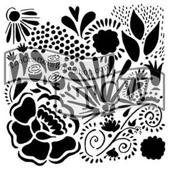 The Crafter's Workshop MINI CHICA DOODLE 6x6 Stencil Template TCW654S