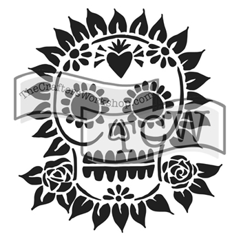 The Crafter's Workshop MINI SUGAR SKULL 6x6 Stencil Template TCW653S