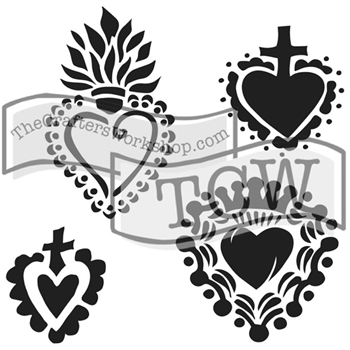 The Crafter's Workshop MINI REGAL HEARTS 6x6 Stencil Template TCW651S
