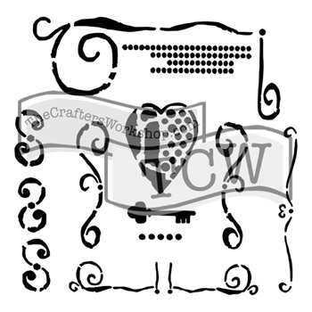 The Crafter's Workshop MINI HEART KEY 6x6 Stencil Template TCW642S