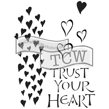 The Crafter's Workshop TRUST YOUR HEART 6x9 Inspired Journaling Stencil Zenspirations TCW2147