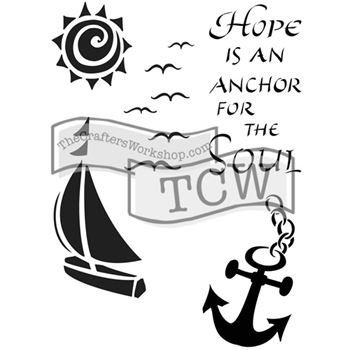 The Crafter's Workshop HOPE IS AN ANCHOR 6x9 Inspired Journaling Stencil Zenspirations TCW2150