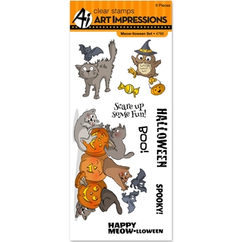 Art Impressions MEOW-LLOWEEN Clear Stamps 4786