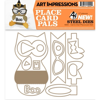 Art Impressions CAT AND OWL Place Card Pals Dies 4805