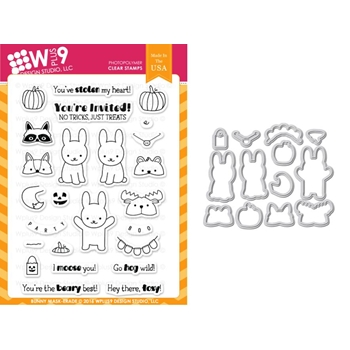 Wplus9 BUNNY MASK-ERADE Clear Stamp And Die Combo WPLUS3303