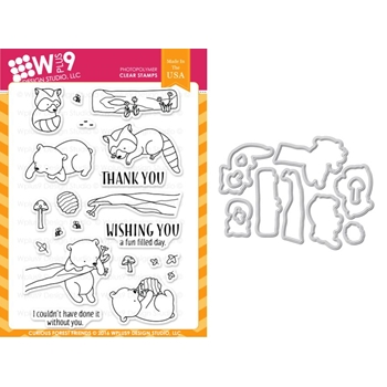 Wplus9 CURIOUS FOREST FRIENDS Clear Stamp And Die Combo WPLUS336