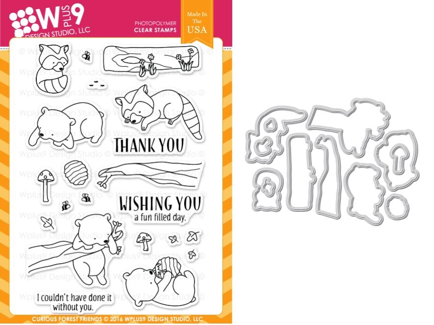 Wplus9 CURIOUS FOREST FRIENDS Clear Stamp And Die Combo WPLUS336 zoom image