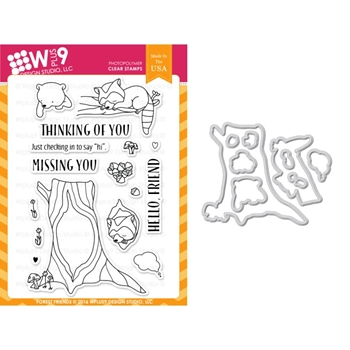 Wplus9 FOREST FRIENDS Clear Stamp And Die Combo WPLUS339