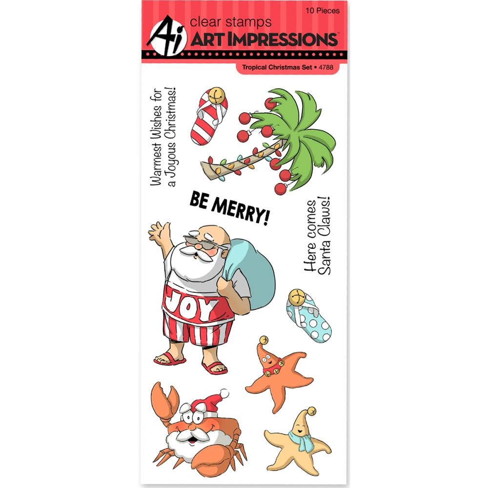 Art Impressions TROPICAL CHRISTMAS Clear Stamps 4788 zoom image