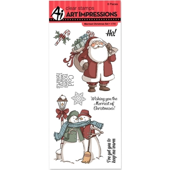 Art Impressions MERRIEST CHRISTMAS Clear Stamps 4790