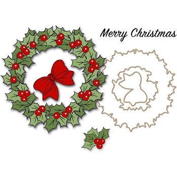Art Impressions CHRISTMAS WREATH Clear Stamps and Dies 4791