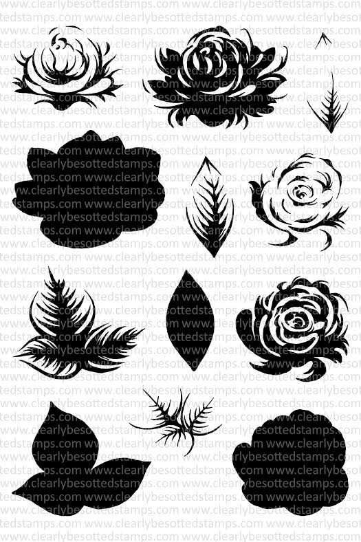 Clearly Besotted ENGLISH ROSE Clear Stamp Set* zoom image