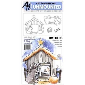 Art Impressions NATIVITY Mini Try'folds Cling Rubber Stamps 4809