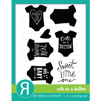 Reverse Confetti CUTE AS A BUTTON Clear Stamp Set