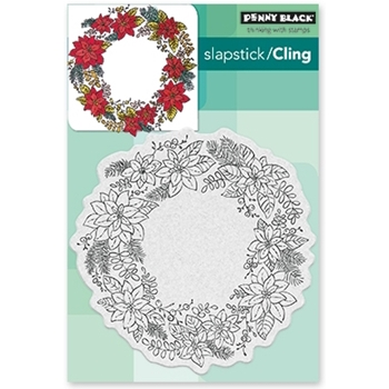 Penny Black Cling Stamp POINSETTIA WREATH 40-485