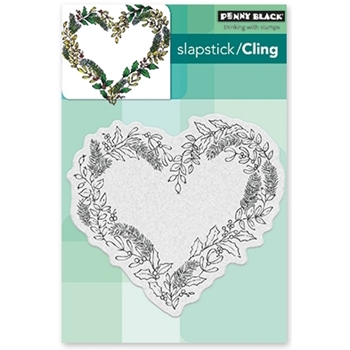 Penny Black Cling Stamp HEART WREATH 40-482