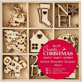DoCrafts SMALL CHRISTMAS ICONS Wooden Shapes Create Christmas Papermania 105946