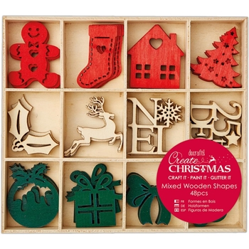 DoCrafts LARGE CHRISTMAS ICONS Wooden Shapes Create Christmas Papermania 105949
