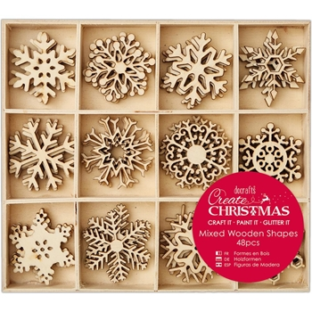 DoCrafts LARGE SNOWFLAKES Wooden Shapes Create Christmas Papermania 105950