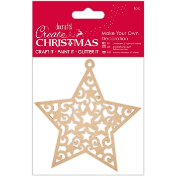 DoCrafts STAR Make Your Own Wooden Ornament Create Christmas Papermania 105937