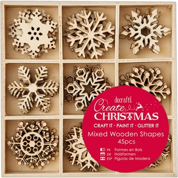 DoCrafts SMALL SNOWFLAKES Wooden Shapes Create Christmas Papermania 105947