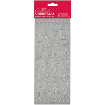 DoCrafts SILVER CHRISTMAS TREES Outline Stickers Create Christmas Papermania 810920