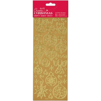 DoCrafts GOLD BAUBLES AND ANGELS Outline Stickers Create Christmas Papermania 810923*